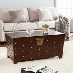 Coffee Table Trunk Nailhead Style Espresso Finish Living Roo