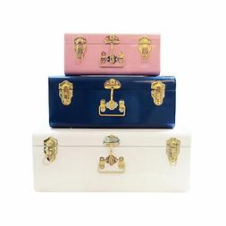 Zanzer Colorful Trunks Set of 3 Vintage Storage with Gold Ha