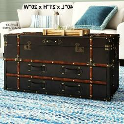 Large Treasure Chest Coffee Table Steamer Trunk Set w/ Drawe
