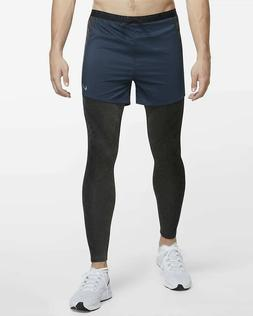 Nike Running Division 2 in 1 Hybrid Pants Tights Shorts Blue