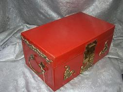 VINTAGE JAPANESE PAINTED RED LEATHER TRUNK BOX with HANDLES